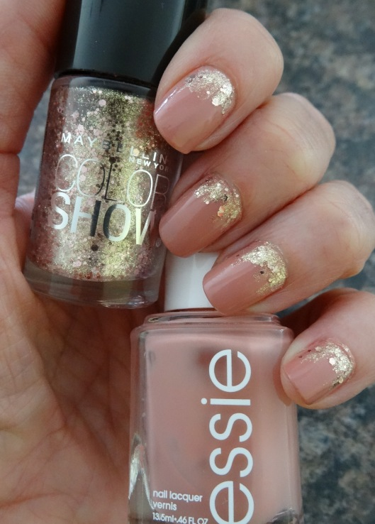 Essie Eternal Optimist wiht Maybeline Color Show in Gilded Rose