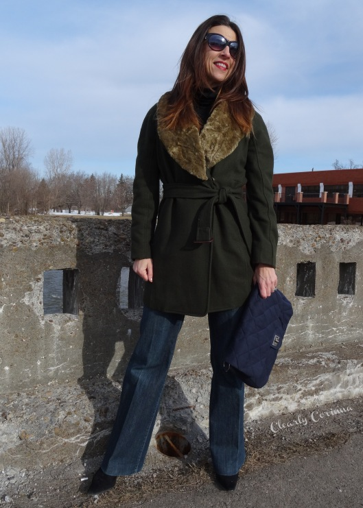 Denim Trouser, Olive Coat, Detachable Collar, Nine West, Navy Clutch, quilted clutch