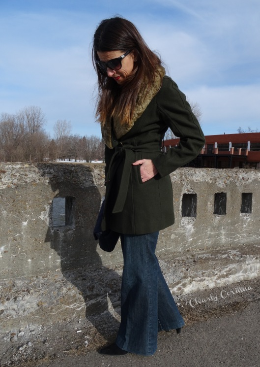Denim Trouser, Olive Coat, Detachable Collar, Nine West