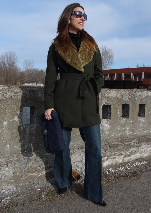 Denim Trouser, Olive Coat, Detachable Collar, Nine West, Navy Clutch